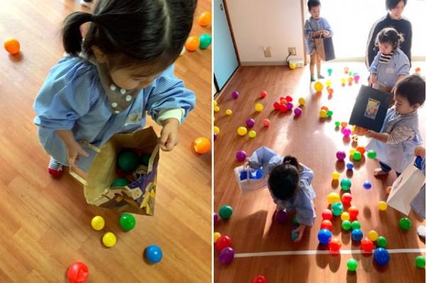 ボール&折り紙&羽子板遊び〈1歳児〉 令和3(2021)年6、7日