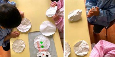 雪だるま製作(1歳児) 令和3(2021)年1月25~27日